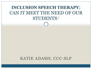 IN CLUSION SPEECH THERAPY ; CAN IT MEET THE NEED OF OUR STUDENTS ?