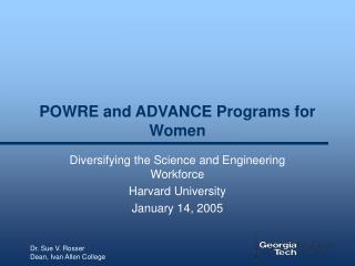 POWRE and ADVANCE Programs for Women