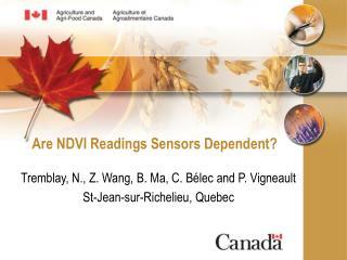 Are NDVI Readings Sensors Dependent?