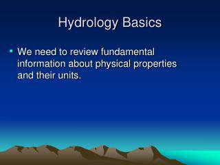 Hydrology Basics
