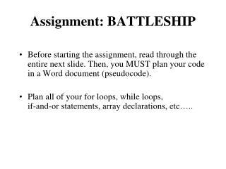 Assignment: BATTLESHIP