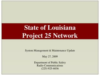 State of Louisiana Project 25 Network