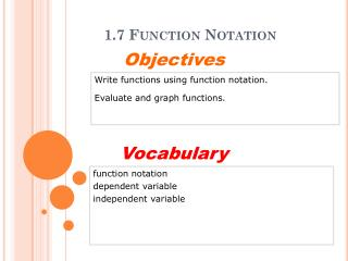 1.7 Function Notation