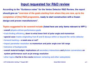 Input requested for R&D review