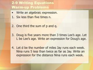 2-9 Writing Equations Warm-up Problems