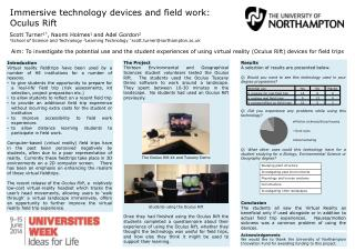 Immersive  technology devices  and field work:  Oculus Rift