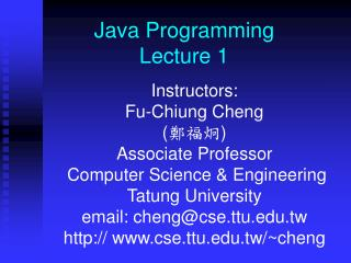 Java Programming  Lecture 1