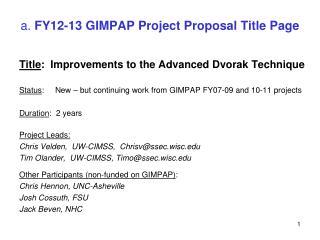 a.  FY12-13 GIMPAP Project Proposal Title Page
