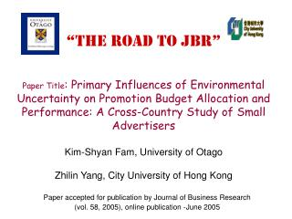 Paper accepted for publication by Journal of Business Research