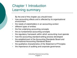 Chapter 1 Introduction Learning summary