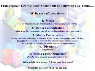 From  Chapter Two  We Read About Four of Following Five Terms…. Write each of them down