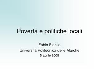 Povert� e politiche locali