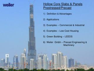 Hollow Core Slabs & Panels  Prestressed/Precast