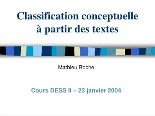 Classification conceptuelle  à partir des textes