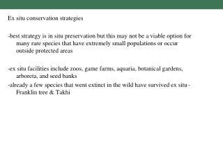 Ex situ conservation strategies