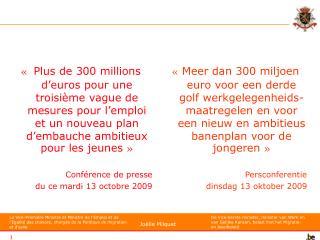 « Mesures 2010-2011 pour l'Emploi » « Maatregelen 2010-2011 voor de Werkgelegenheid »