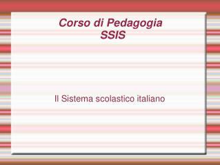 Corso di Pedagogia SSIS