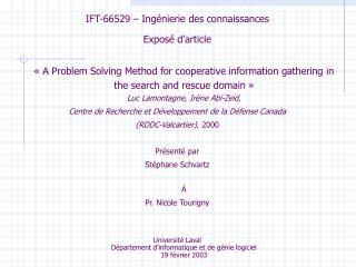 IFT-66529 – Ingénierie des connaissances Exposé d'article