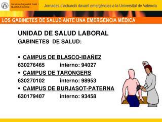 LOS GABINETES DE SALUD ANTE UNA EMERGENCIA MÉDICA