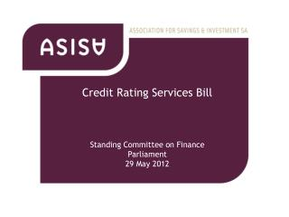 Credit Rating Services Bill Standing Committee on Finance Parliament  29 May 2012