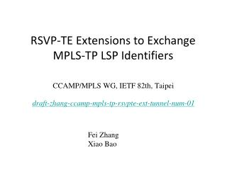 RSVP-TE Extensions to Exchange MPLS-TP LSP Identifiers