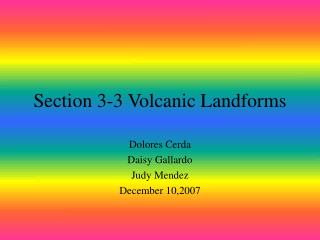 Section 3-3 Volcanic Landforms