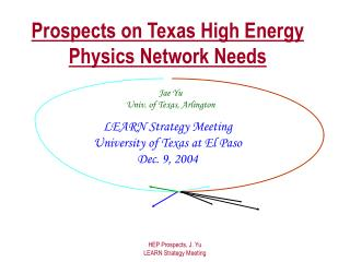 Prospects on Texas High Energy Physics Network Needs
