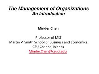 The Management of Organizations An Introduction