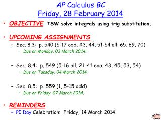 AP  Calculus  BC Friday, 28 February 2014