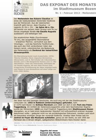 DAS EXPONAT DES MONATS im Stadtmuseum Bozen Nr. 1 - Februar 2012 - Meilenstein