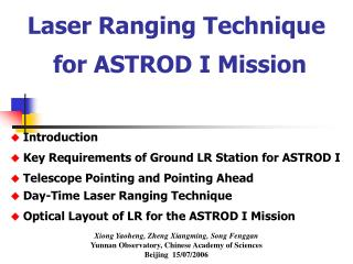 Laser Ranging Technique  for ASTROD I Mission