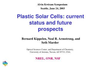 Plastic Solar Cells: current status and future prospects