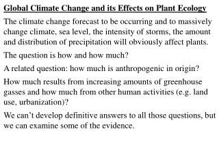 Global Climate Change and its Effects on Plant Ecology