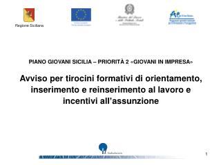 PIANO GIOVANI SICILIA – PRIORITÀ 2 «GIOVANI IN IMPRESA»