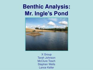 Benthic Analysis:  Mr. Ingle's Pond