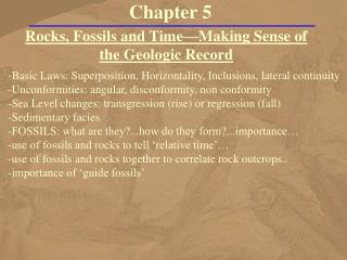 Rocks, Fossils and Time—Making Sense of the Geologic Record
