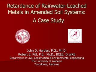 Retardance of Rainwater-Leached Metals in Amended Soil Systems:   A Case Study