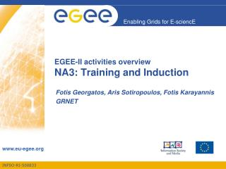 EGEE-II  activities overview NA3: Training and Induction
