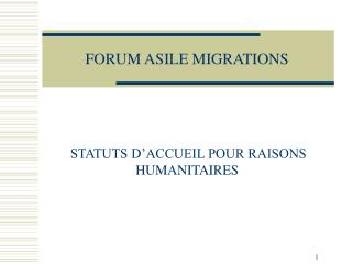 FORUM ASILE MIGRATIONS