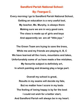 Sandford Parish National School:  By: Feargus C.