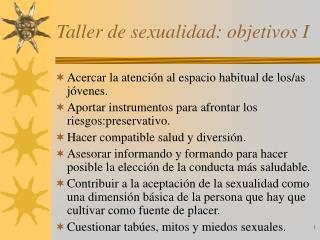 Taller de sexualidad: objetivos I