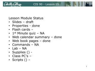 CIS 90 - Lesson 15