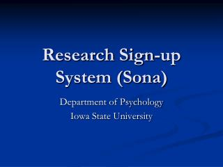 Research Sign-up System (Sona)