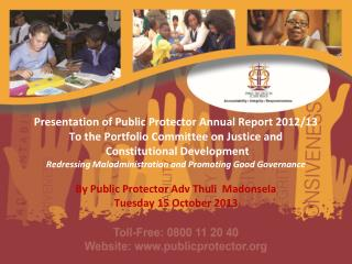 By Public Protector Adv  Thuli   M adonsela Tuesday 15 October 2013