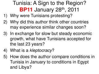 Tunisia: A Sign to the Region? BP11  January 28 th , 2011
