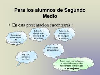 Para los alumnos de Segundo Medio