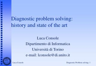 Diagnostic problem solving: history and state of the art