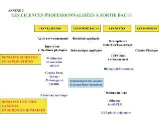 ANNEXE 2  LES LICENCES PROFESSIONNALISÉES À SORTIE BAC+3