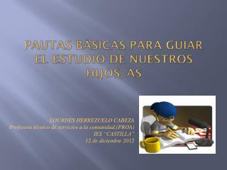 PAUTAS BÁSICAS PARA GUIAR EL ESTUDIO DE NUESTROS HIJOS/AS