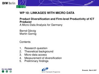 Contents Research question Theoretical background  Micro-data access